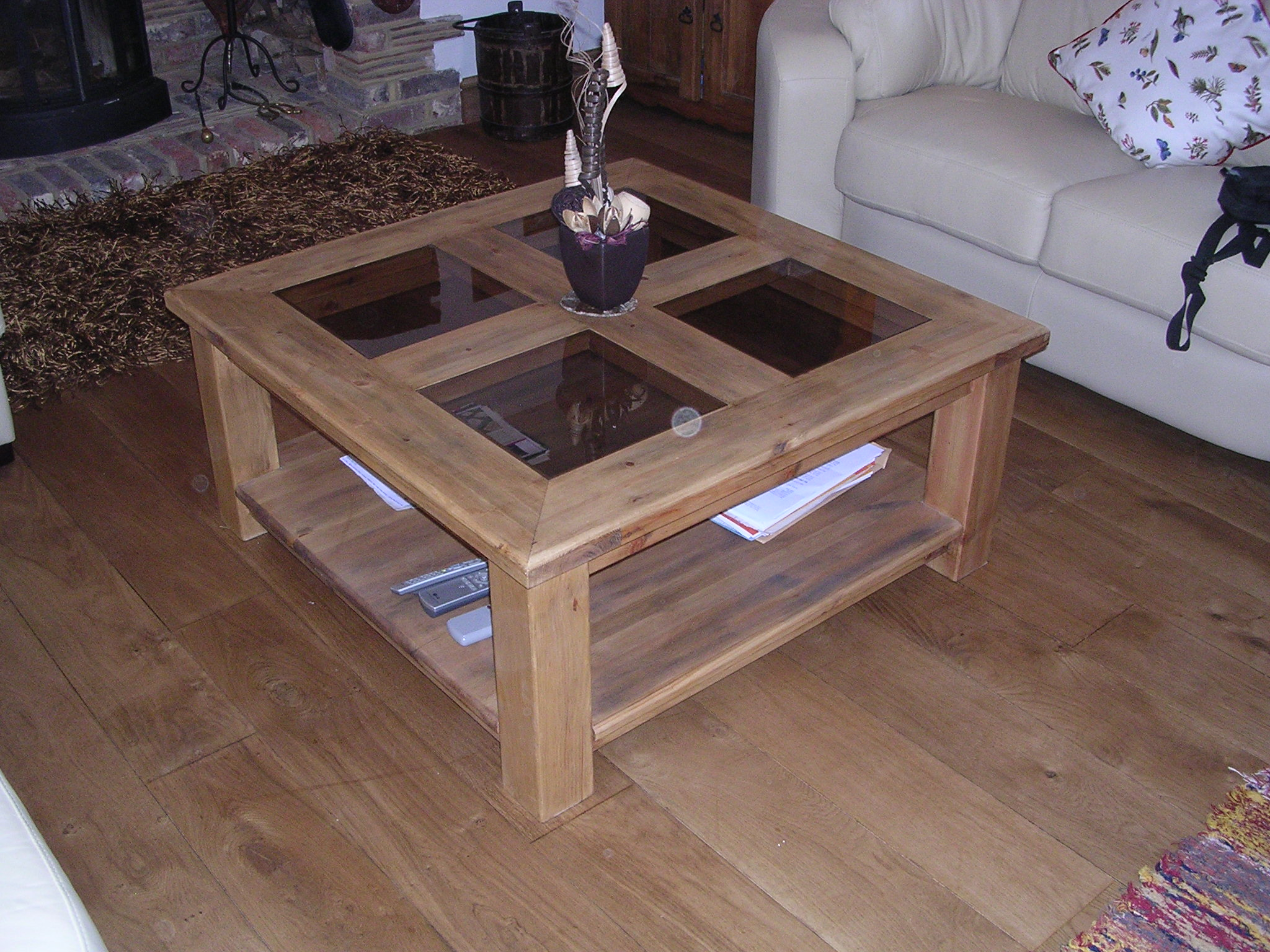 Wooden Coffee Tables Glass Top